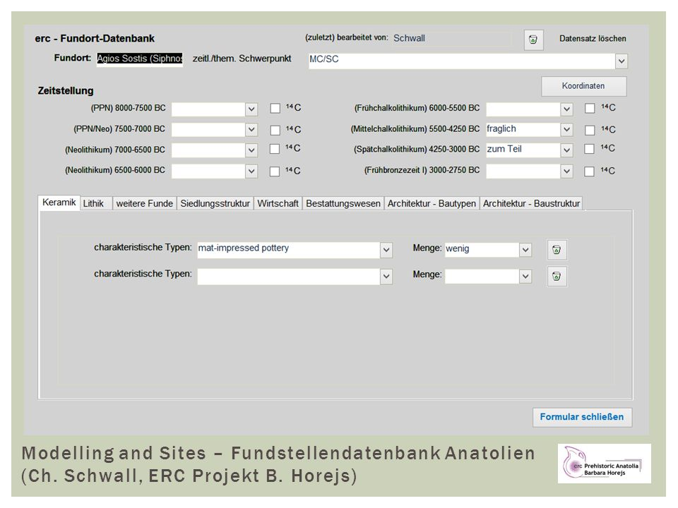 Modelling and Sites – Fundstellendatenbank Anatolien (Ch. Schwall, ERC Projekt B. Horejs)