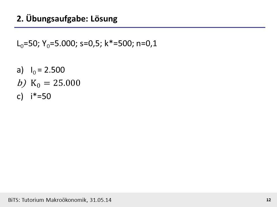 BiTS: Tutorium Makroökonomik, 31.05.14 12 2. Übungsaufgabe: Lösung