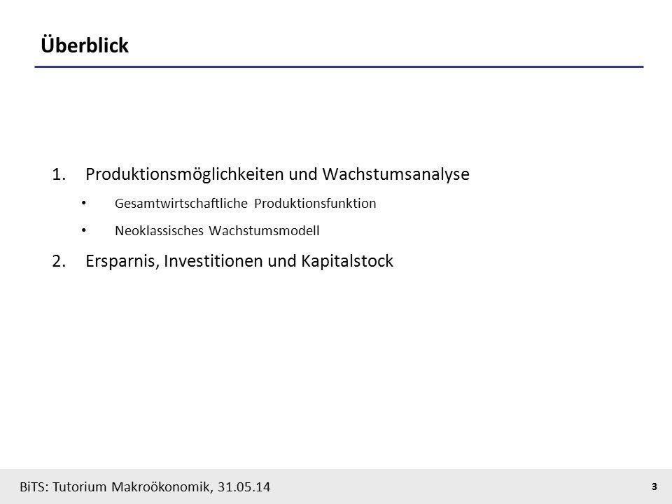 BiTS: Tutorium Makroökonomik, 31.05.14 3 Überblick 1.Produktionsmöglichkeiten und Wachstumsanalyse Gesamtwirtschaftliche Produktionsfunktion Neoklassisches Wachstumsmodell 2.Ersparnis, Investitionen und Kapitalstock