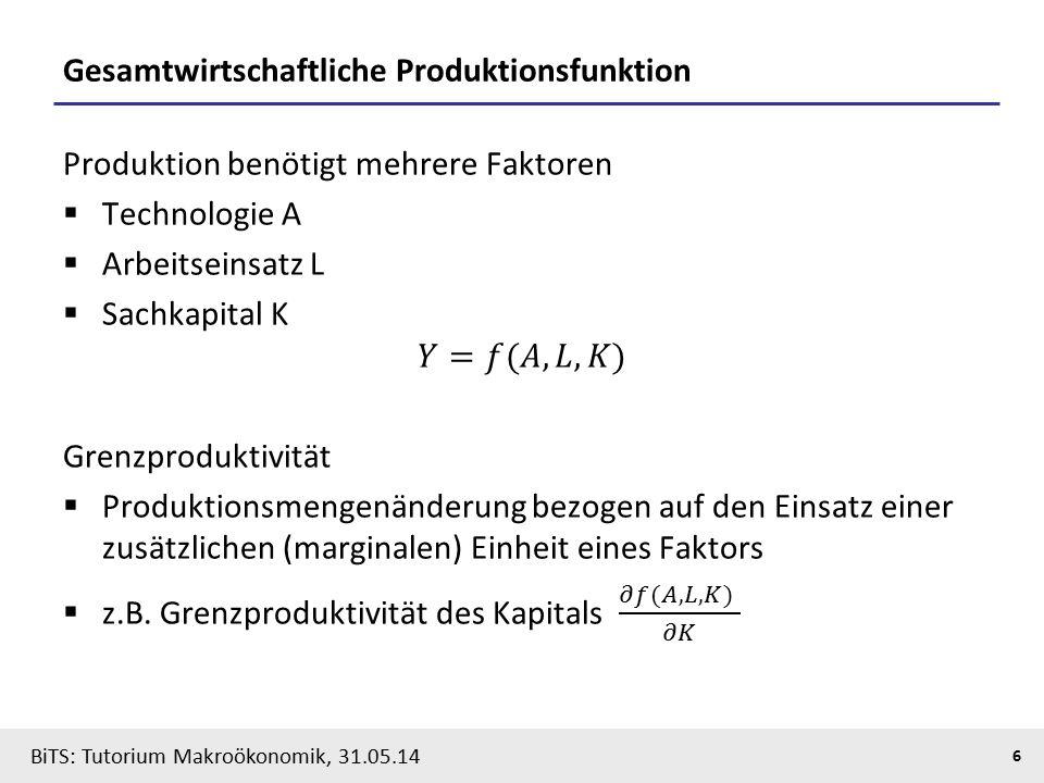 BiTS: Tutorium Makroökonomik, 31.05.14 7 Neoklassisches Wachstumsmodell: Schema  Basismodell  Exogener technischer Fortschritt L K Konsum s∙Y = Ersparnis = Investitionen = ∆K Produktion Y = f(L,K) ∆L = n∙L L K Konsum s∙Y = Ersparnis = Investitionen = ∆K Produktion Y = A∙f(L,K) ∆L = n∙L technologischer Fortschritt (gA)