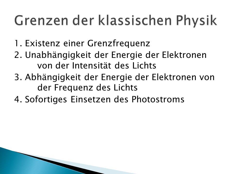 1. Existenz einer Grenzfrequenz 2. Unabhängigkeit der Energie der Elektronen von der Intensität des Lichts 3. Abhängigkeit der Energie der Elektronen