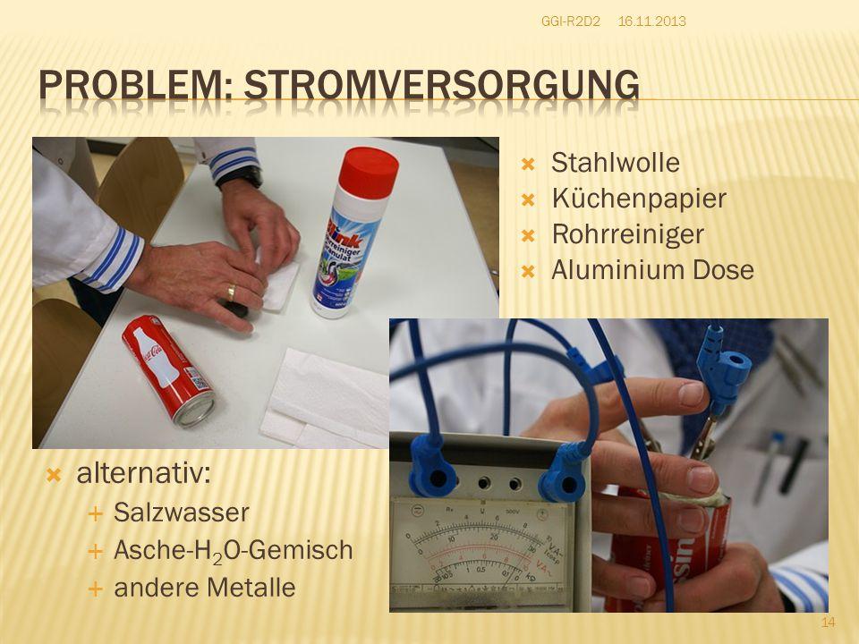  Stahlwolle  Küchenpapier  Rohrreiniger  Aluminium Dose  alternativ:  Salzwasser  Asche-H 2 O-Gemisch  andere Metalle 16.11.2013GGI-R2D2 14