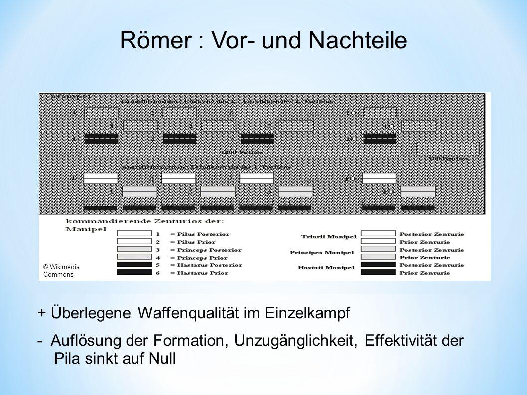 """Gegner: Vor- und Nachteile """"Barbaren (Daker, Germanen, Kelten): + Vertrautheit mit der Umgebung - Auflösung der Formation, Unzugänglichkeit, langsames Sammeln Cuneus ."""