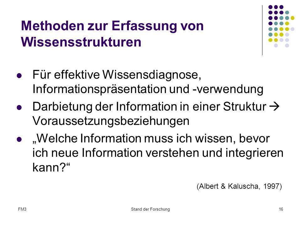 """FM3Stand der Forschung16 Methoden zur Erfassung von Wissensstrukturen Für effektive Wissensdiagnose, Informationspräsentation und -verwendung Darbietung der Information in einer Struktur  Voraussetzungsbeziehungen """"Welche Information muss ich wissen, bevor ich neue Information verstehen und integrieren kann? (Albert & Kaluscha, 1997)"""