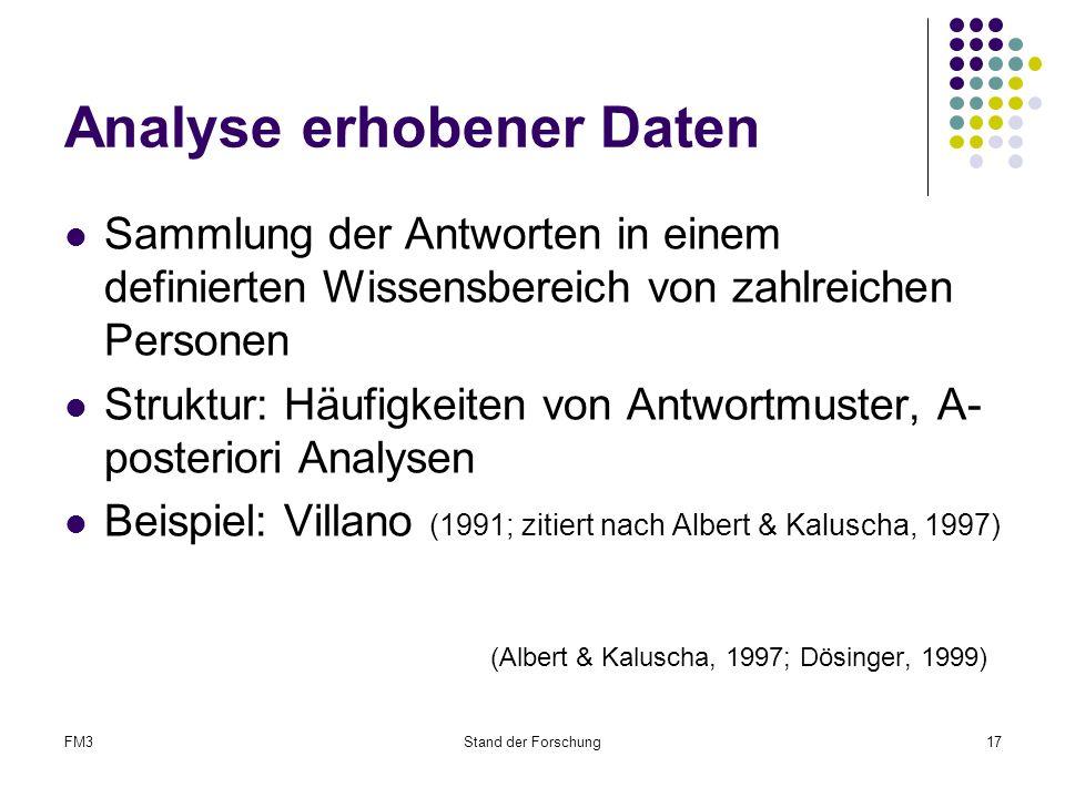 FM3Stand der Forschung17 Analyse erhobener Daten Sammlung der Antworten in einem definierten Wissensbereich von zahlreichen Personen Struktur: Häufigkeiten von Antwortmuster, A- posteriori Analysen Beispiel: Villano (1991; zitiert nach Albert & Kaluscha, 1997) (Albert & Kaluscha, 1997; Dösinger, 1999)