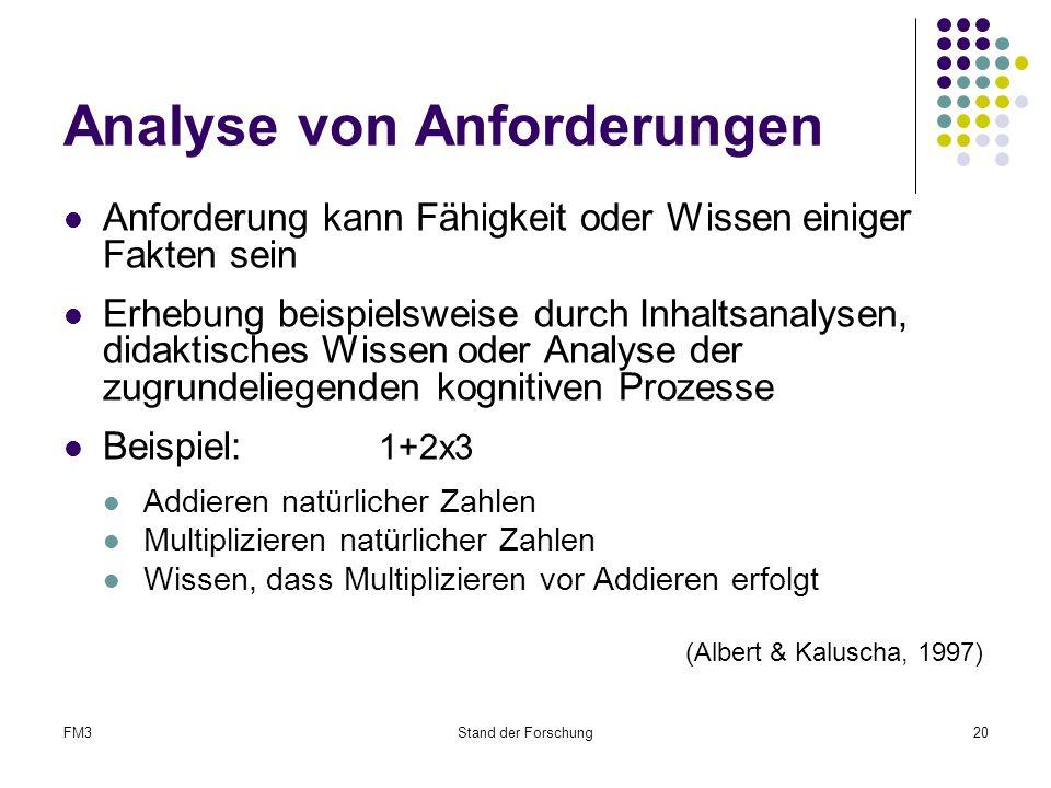 FM3Stand der Forschung20 Analyse von Anforderungen Anforderung kann Fähigkeit oder Wissen einiger Fakten sein Erhebung beispielsweise durch Inhaltsanalysen, didaktisches Wissen oder Analyse der zugrundeliegenden kognitiven Prozesse Beispiel: 1+2x3 Addieren natürlicher Zahlen Multiplizieren natürlicher Zahlen Wissen, dass Multiplizieren vor Addieren erfolgt (Albert & Kaluscha, 1997)