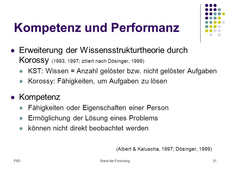 FM3Stand der Forschung21 Kompetenz und Performanz Erweiterung der Wissensstrukturtheorie durch Korossy (1993, 1997; zitiert nach Dösinger, 1999) KST: Wissen = Anzahl gelöster bzw.