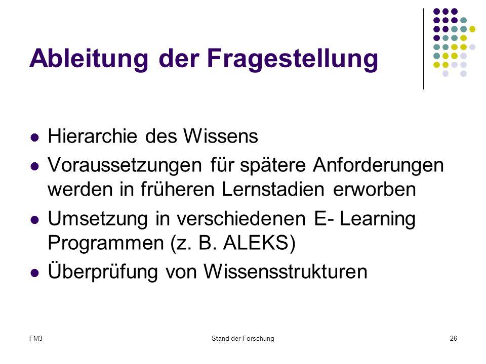 FM3Stand der Forschung26 Ableitung der Fragestellung Hierarchie des Wissens Voraussetzungen für spätere Anforderungen werden in früheren Lernstadien erworben Umsetzung in verschiedenen E- Learning Programmen (z.