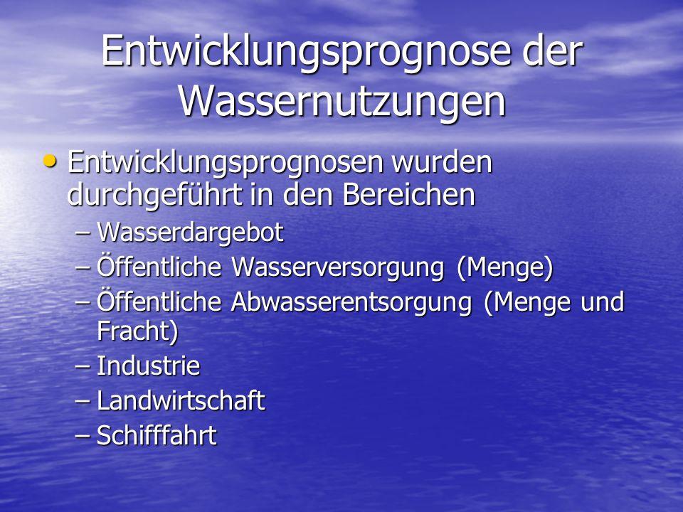Entwicklungsprognose der Wassernutzungen Entwicklungsprognosen wurden durchgeführt in den Bereichen Entwicklungsprognosen wurden durchgeführt in den B