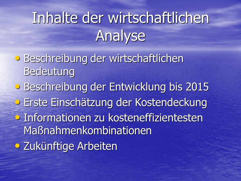 Inhalte der wirtschaftlichen Analyse Beschreibung der wirtschaftlichen Bedeutung Beschreibung der wirtschaftlichen Bedeutung Beschreibung der Entwickl