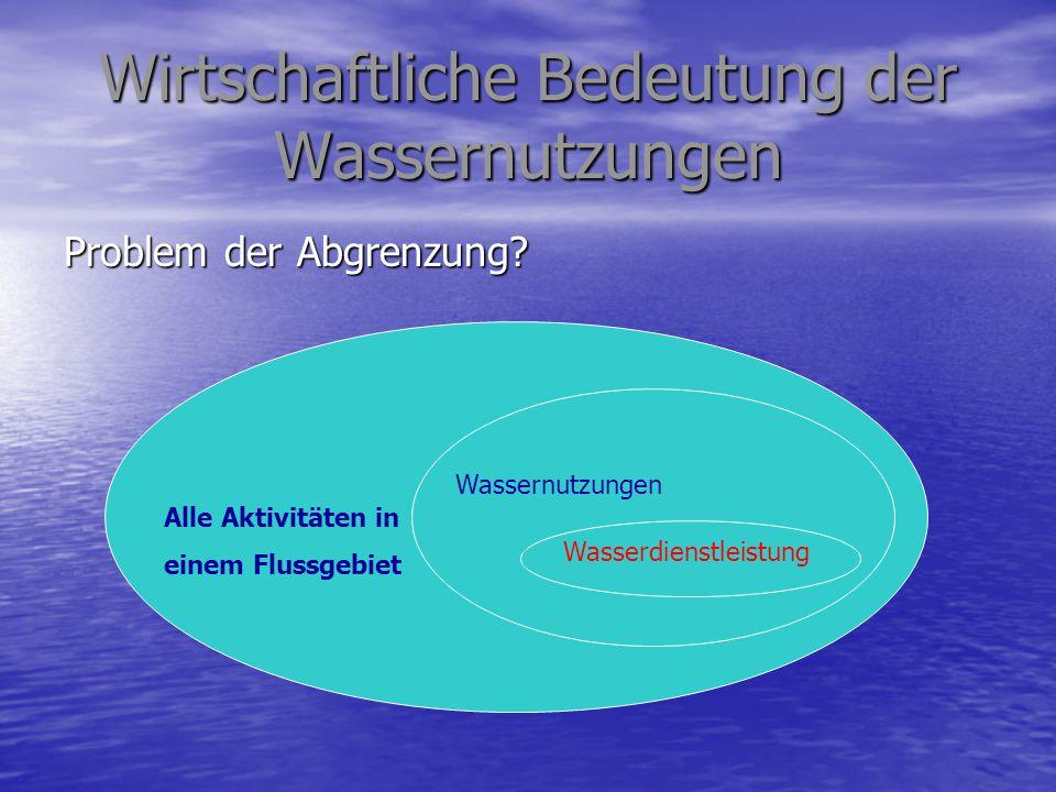 Wirtschaftliche Bedeutung der Wassernutzungen Problem der Abgrenzung? Alle Aktivitäten in einem Flussgebiet Wassernutzungen Wasserdienstleistung