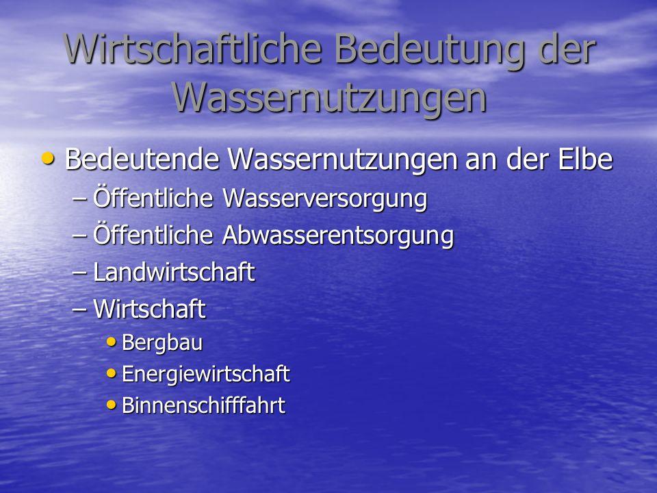 Wirtschaftliche Bedeutung der Wassernutzungen Öffentliche Wassersorgung Öffentliche Wassersorgung –Anschluss an WV 99,2 % –Wasserentnahme 1 051 439 Tm³ Öffentliche Abwasserentsorgung Öffentliche Abwasserentsorgung –Anschluss Kanal 89,2 % –Anschluss Kläranlage 84,6 % –Eingeleitete Abwassermenge 1 227 987 Tm³