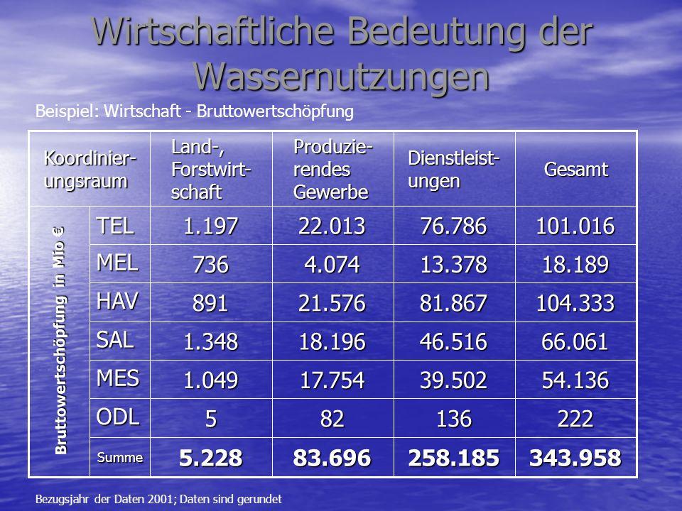 Wirtschaftliche Bedeutung der Wassernutzungen Bewertung durch Vergleichsrechnungen Bewertung durch Vergleichsrechnungen –Z.B.