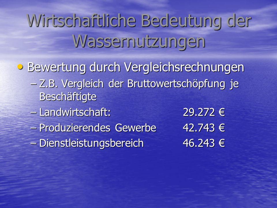 Wirtschaftliche Bedeutung der Wassernutzungen Bewertung durch Vergleichsrechnungen Bewertung durch Vergleichsrechnungen –Z.B. Vergleich der Bruttowert