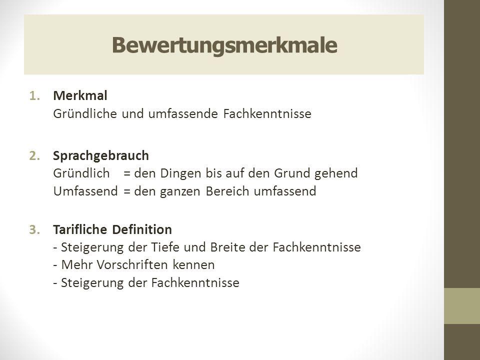Bewertungsmerkmale 1.Merkmal Gründliche und umfassende Fachkenntnisse 2.Sprachgebrauch Gründlich = den Dingen bis auf den Grund gehend Umfassend = den