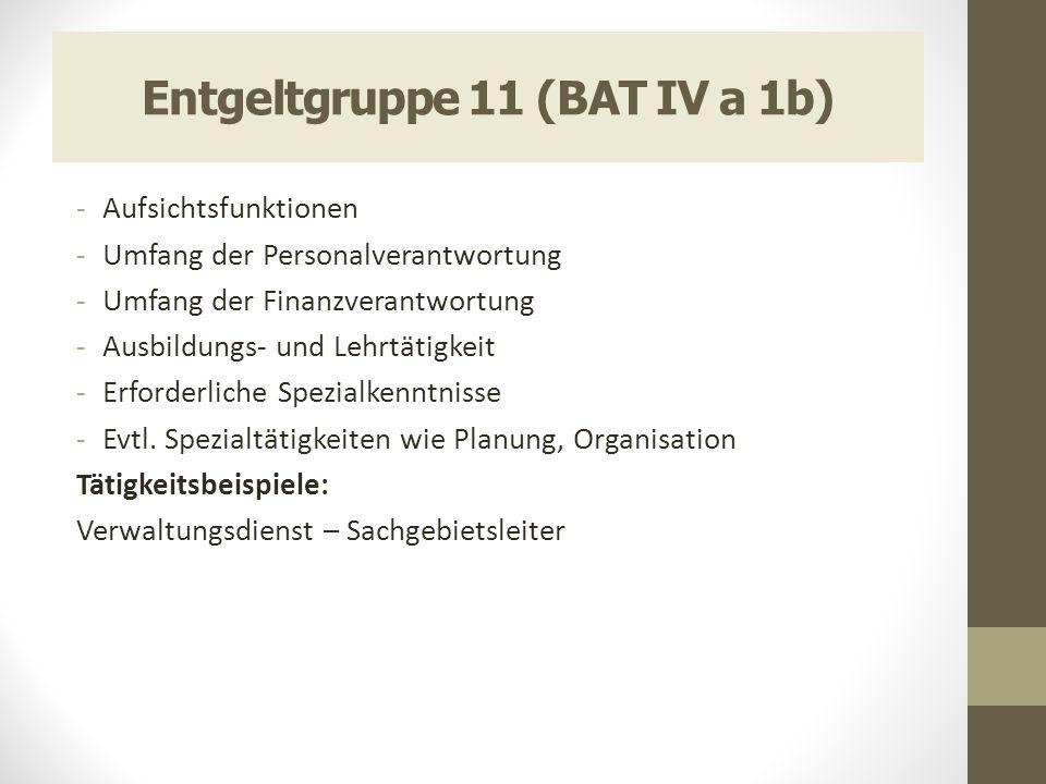 Entgeltgruppe 11 (BAT IV a 1b) -Aufsichtsfunktionen -Umfang der Personalverantwortung -Umfang der Finanzverantwortung -Ausbildungs- und Lehrtätigkeit