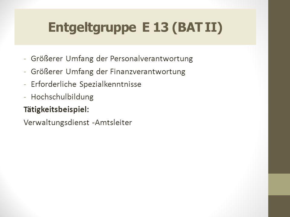 Entgeltgruppe E 13 (BAT II) -Größerer Umfang der Personalverantwortung -Größerer Umfang der Finanzverantwortung -Erforderliche Spezialkenntnisse -Hoch
