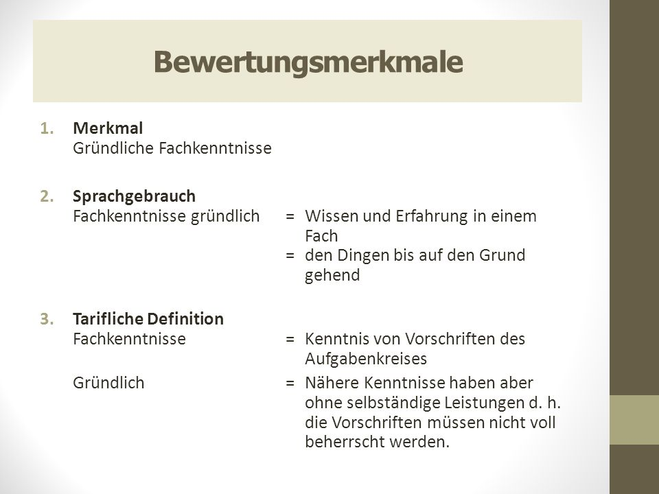 Bewertungsmerkmale 1.Merkmal Gründliche Fachkenntnisse 2.Sprachgebrauch Fachkenntnisse gründlich = Wissen und Erfahrung in einem Fach = den Dingen bis