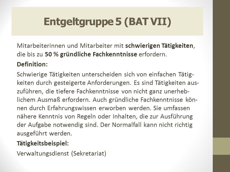 Entgeltgruppe 11 (BAT IV a 1b) -Aufsichtsfunktionen -Umfang der Personalverantwortung -Umfang der Finanzverantwortung -Ausbildungs- und Lehrtätigkeit -Erforderliche Spezialkenntnisse -Evtl.