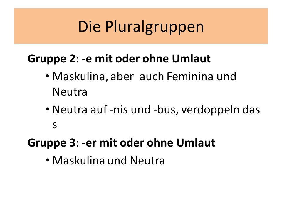 Die Pluralgruppen Gruppe 2: -e mit oder ohne Umlaut Maskulina, aber auch Feminina und Neutra Neutra auf -nis und -bus, verdoppeln das s Gruppe 3: -er