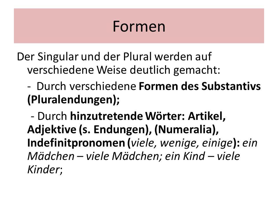 Formen Der Singular und der Plural werden auf verschiedene Weise deutlich gemacht: - Durch verschiedene Formen des Substantivs (Pluralendungen); - Dur