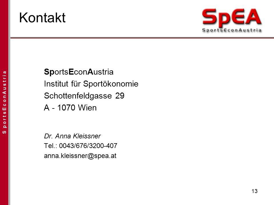 S p o r t s E c o n A u s t r i a 13 Kontakt SportsEconAustria Institut für Sportökonomie Schottenfeldgasse 29 A - 1070 Wien Dr. Anna Kleissner Tel.: