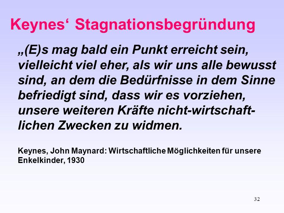 """32 Keynes' Stagnationsbegründung """"(E)s mag bald ein Punkt erreicht sein, vielleicht viel eher, als wir uns alle bewusst sind, an dem die Bedürfnisse i"""