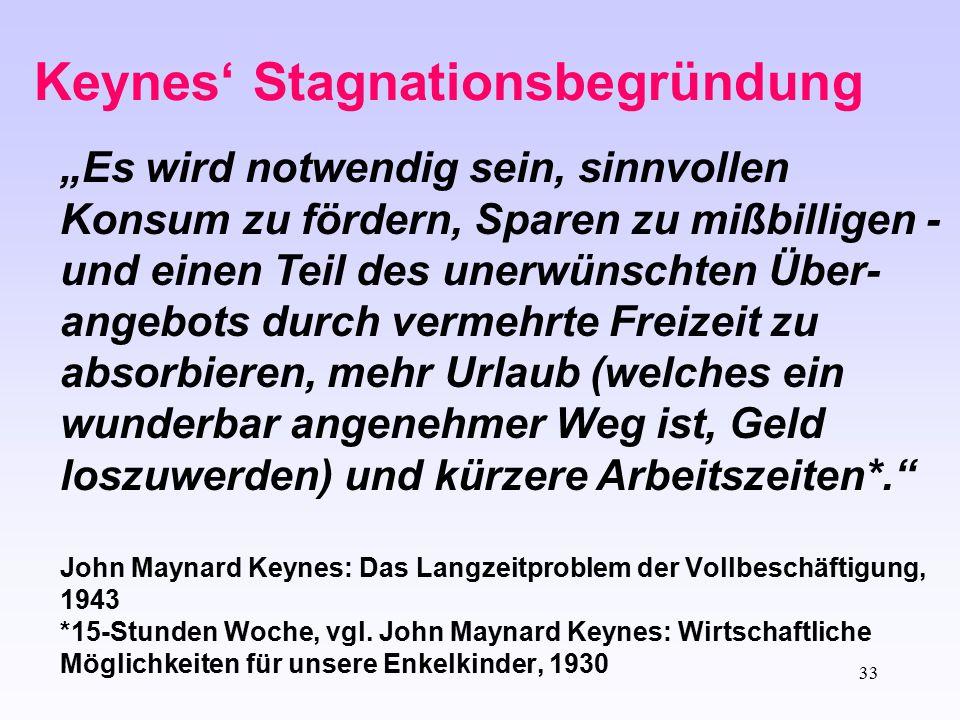 """33 Keynes' Stagnationsbegründung """"Es wird notwendig sein, sinnvollen Konsum zu fördern, Sparen zu mißbilligen - und einen Teil des unerwünschten Über-"""