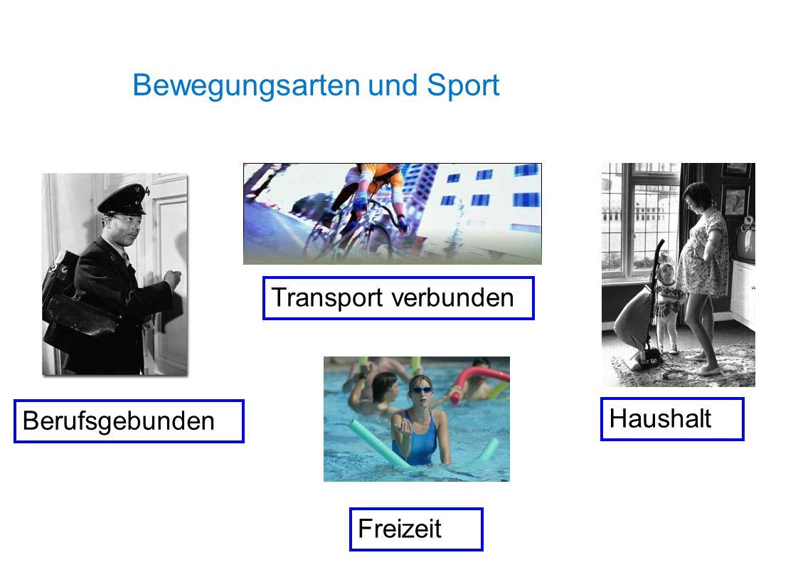 Bewegungsarten und Sport Transport verbunden Freizeit Haushalt Berufsgebunden