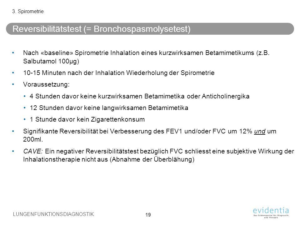 Reversibilitätstest (= Bronchospasmolysetest) Nach «baseline» Spirometrie Inhalation eines kurzwirksamen Betamimetikums (z.B. Salbutamol 100µg) 10-15