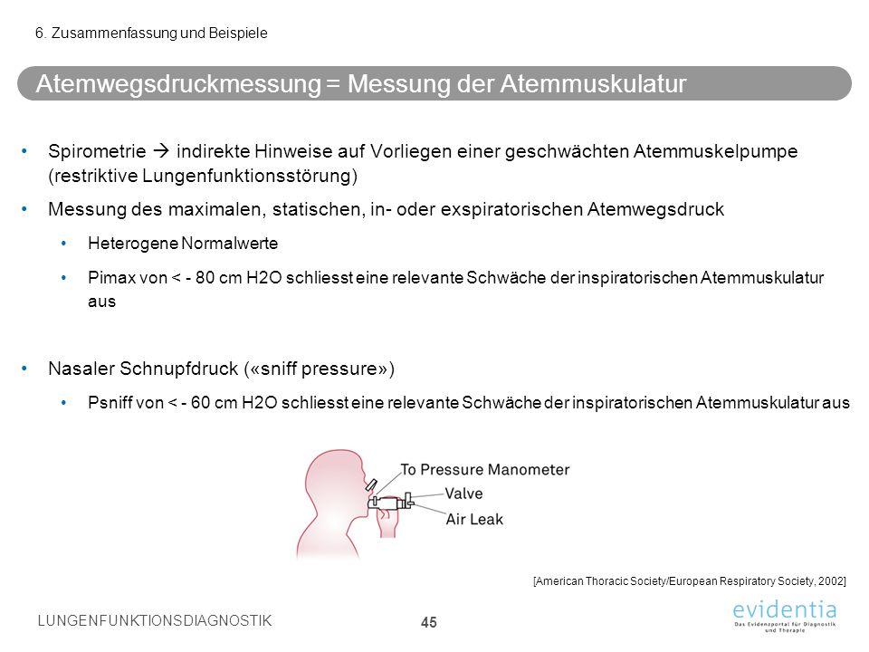 Atemwegsdruckmessung = Messung der Atemmuskulatur Spirometrie  indirekte Hinweise auf Vorliegen einer geschwächten Atemmuskelpumpe (restriktive Lunge