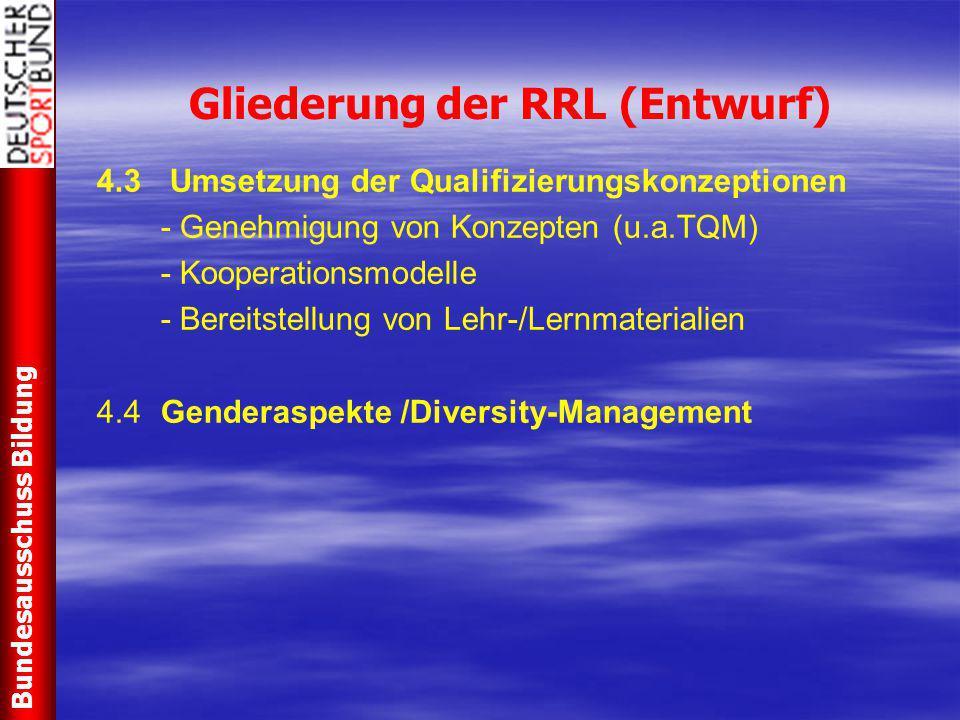 Gliederung der RRL (Entwurf) 4.3 Umsetzung der Qualifizierungskonzeptionen - Genehmigung von Konzepten (u.a.TQM) - Kooperationsmodelle - Bereitstellun