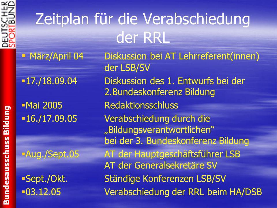Zeitplan für die Verabschiedung der RRL   März/April 04Diskussion bei AT Lehrreferent(innen) der LSB/SV   17./18.09.04Diskussion des 1. Entwurfs b