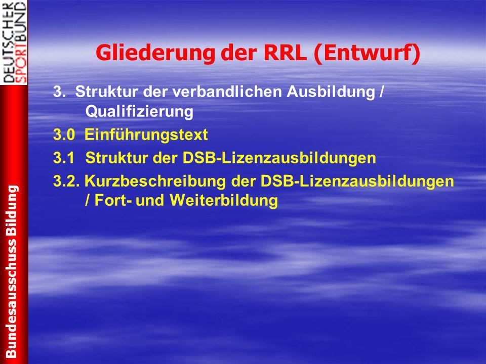 Gliederung der RRL (Entwurf) 3.3 Ausbildungen / Qualifizierungen für den sportartübergreifenden Freizeit- und Breitensport 3.3.1 Vorstufenqualifikationen 3.3.2 Trainer/in - C Freizeit- und Breitensport - Schwerpunkt Kinder / Jugend - Schwerpunkt Erwachsene / Ältere - Fort- und Weiterbildungen 3.3.3 Trainer/in – B Freizeit- und Breitensport - Fort- und Weiterbildung 3.3.4 Trainer/in – B Präventionssport 3.3.5 Trainer/in – B Rehabilitationssport - Fort- und Weiterbildung