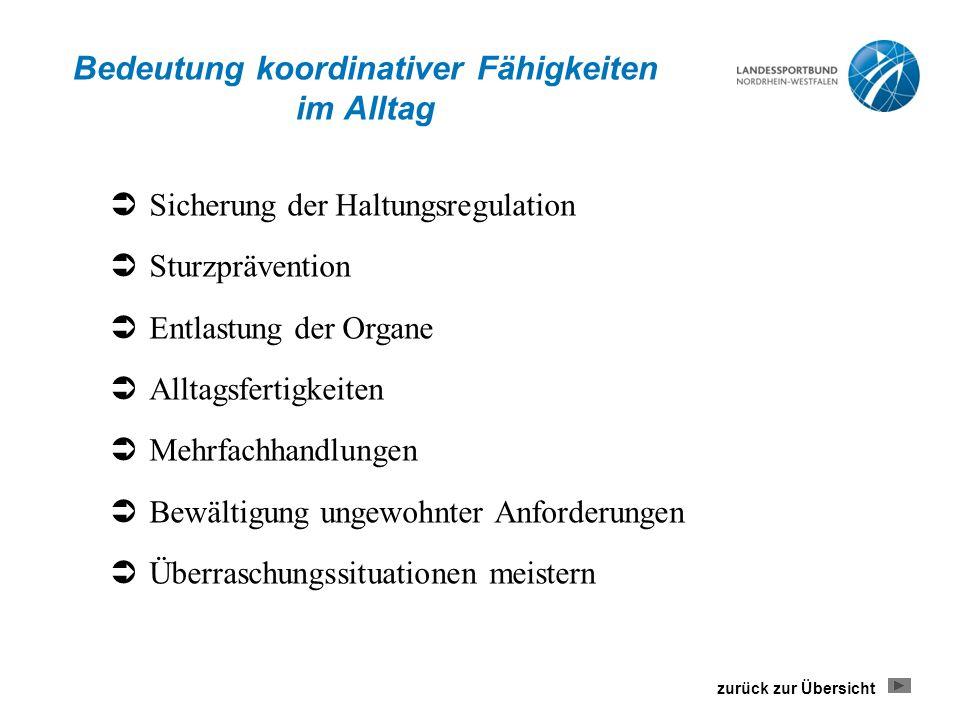 Bedeutung koordinativer Fähigkeiten im Alltag  Sicherung der Haltungsregulation  Sturzprävention  Entlastung der Organe  Alltagsfertigkeiten  Meh