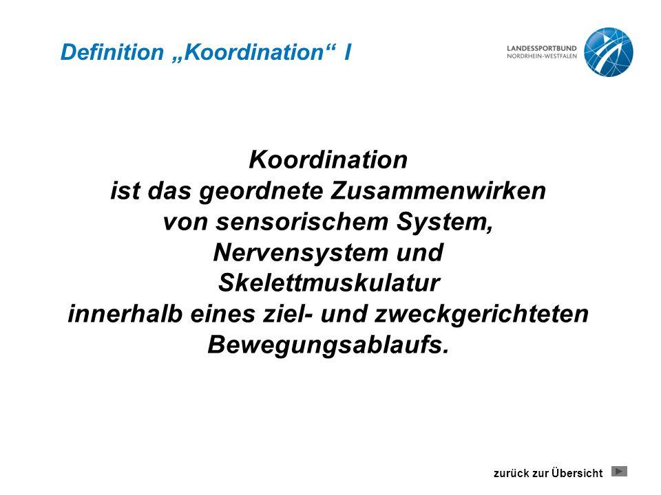 """Definition """"Koordination I Koordination ist das geordnete Zusammenwirken von sensorischem System, Nervensystem und Skelettmuskulatur innerhalb eines ziel- und zweckgerichteten Bewegungsablaufs."""