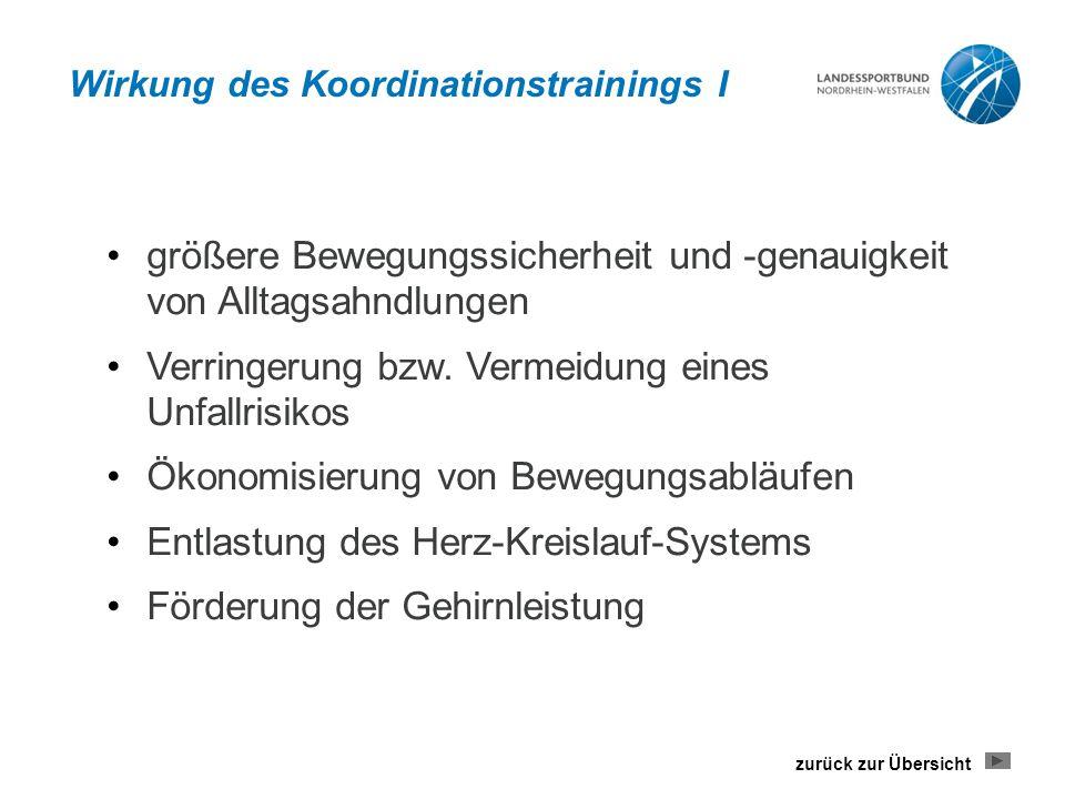 Wirkung des Koordinationstrainings I größere Bewegungssicherheit und -genauigkeit von Alltagsahndlungen Verringerung bzw.