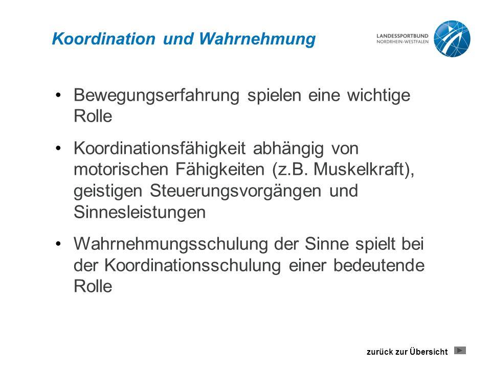 Koordination und Wahrnehmung Bewegungserfahrung spielen eine wichtige Rolle Koordinationsfähigkeit abhängig von motorischen Fähigkeiten (z.B.