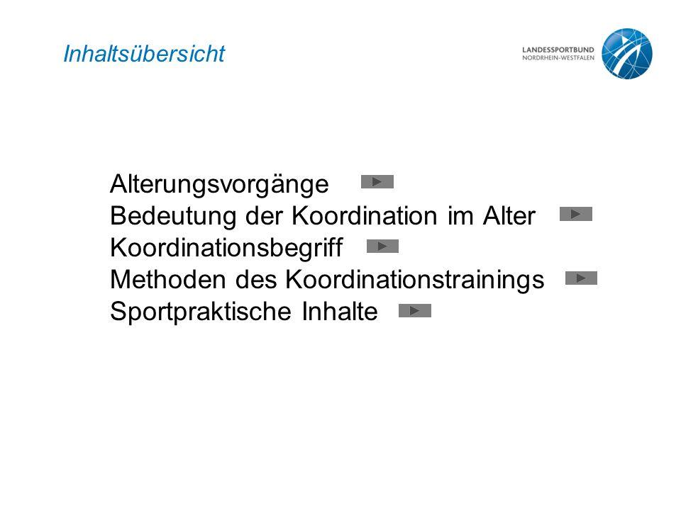 Inhaltsübersicht Alterungsvorgänge Bedeutung der Koordination im Alter Koordinationsbegriff Methoden des Koordinationstrainings Sportpraktische Inhalt