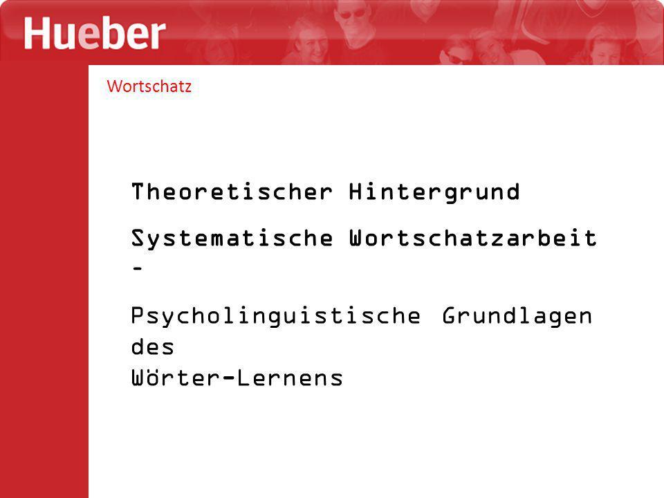 Wortschatz Theoretischer Hintergrund Systematische Wortschatzarbeit – Psycholinguistische Grundlagen des Wörter-Lernens