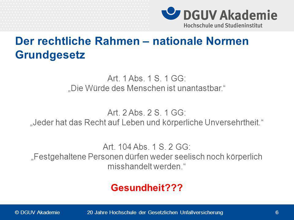 """Der rechtliche Rahmen – nationale Normen Grundgesetz Art. 1 Abs. 1 S. 1 GG: """"Die Würde des Menschen ist unantastbar."""" Art. 2 Abs. 2 S. 1 GG: """"Jeder ha"""