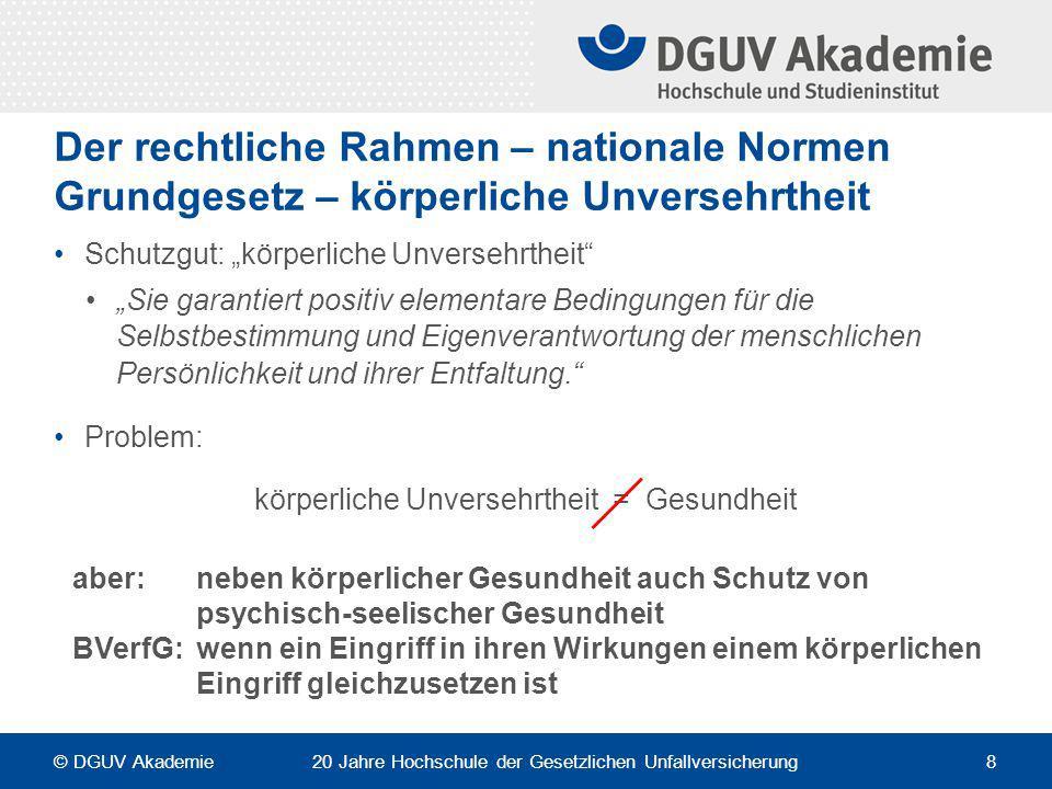 """Der rechtliche Rahmen – nationale Normen Grundgesetz – körperliche Unversehrtheit Schutzgut: """"körperliche Unversehrtheit"""" """"Sie garantiert positiv elem"""