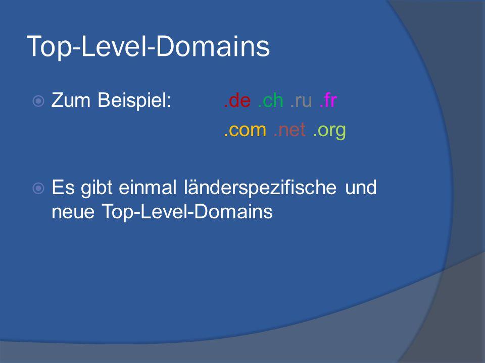 Top-Level-Domains  Zum Beispiel:.de.ch.ru.fr.com.net.org  Es gibt einmal länderspezifische und neue Top-Level-Domains