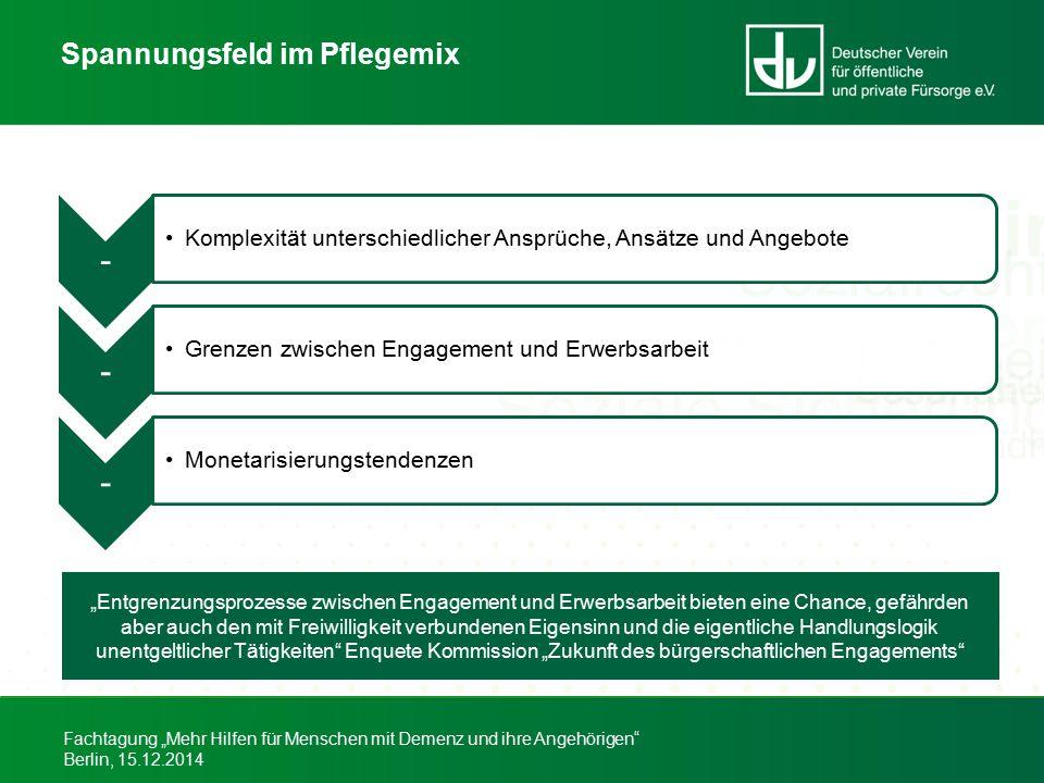 """Fachtagung """"Mehr Hilfen für Menschen mit Demenz und ihre Angehörigen"""" Berlin, 15.12.2014 Spannungsfeld im Pflegemix """"Entgrenzungsprozesse zwischen Eng"""