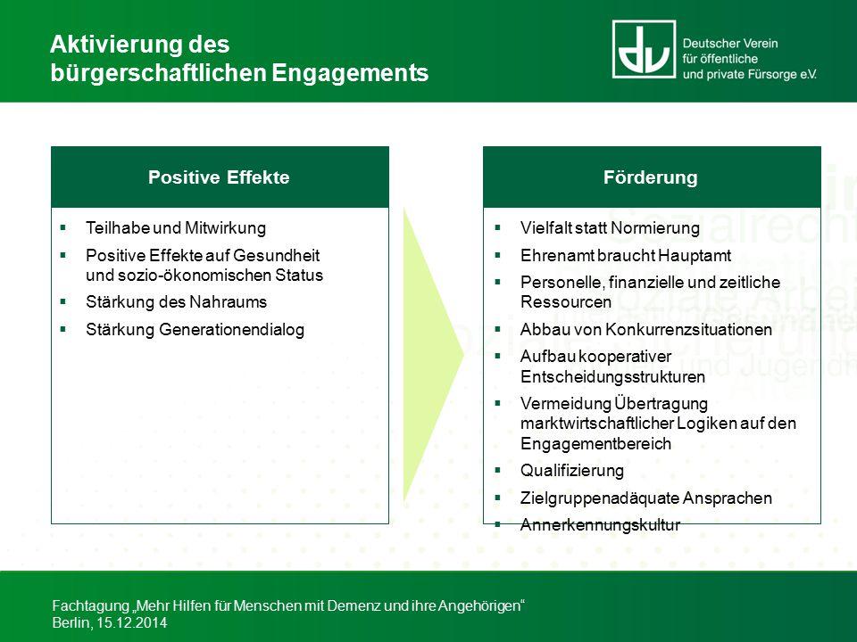 """Fachtagung """"Mehr Hilfen für Menschen mit Demenz und ihre Angehörigen"""" Berlin, 15.12.2014 Aktivierung des bürgerschaftlichen Engagements Positive Effek"""