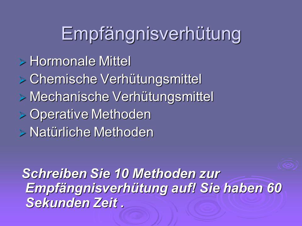 Empfängnisverhütung  Hormonale Mittel  Chemische Verhütungsmittel  Mechanische Verhütungsmittel  Operative Methoden  Natürliche Methoden Schreibe