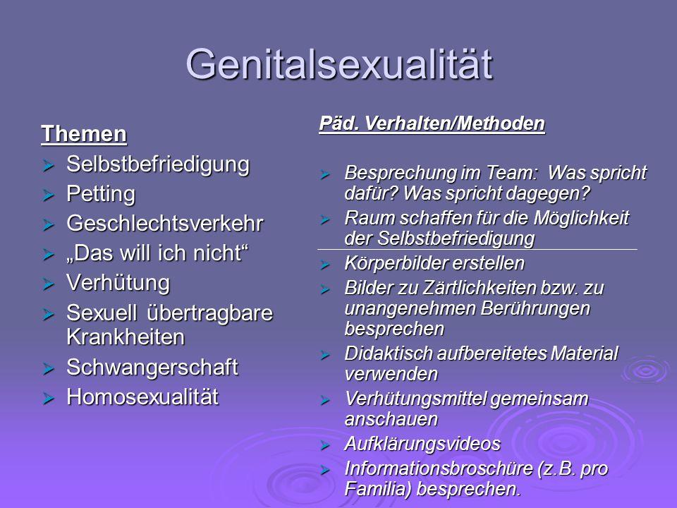 """Genitalsexualität Themen  Selbstbefriedigung  Petting  Geschlechtsverkehr  """"Das will ich nicht""""  Verhütung  Sexuell übertragbare Krankheiten  S"""