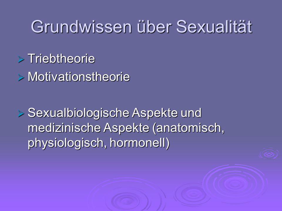 Grundwissen über Sexualität  Triebtheorie  Motivationstheorie  Sexualbiologische Aspekte und medizinische Aspekte (anatomisch, physiologisch, hormo