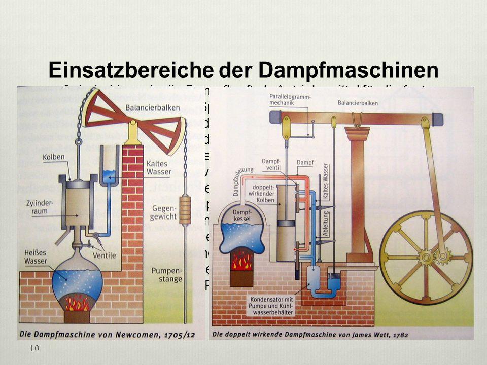 Einsatzbereiche der Dampfmaschinen Sehr bald wurde die Dampfkraft als Antriebsmittel für die fast gleichzeitig erfundenen Spinn- und Webmaschinen verw