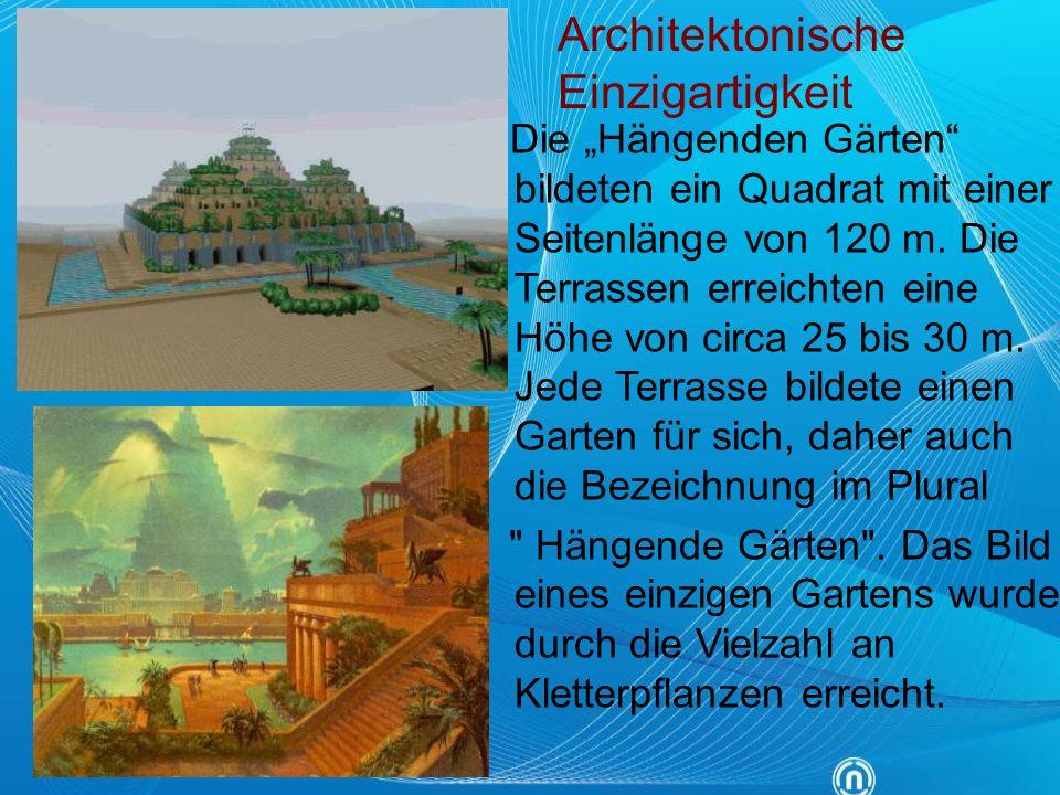 """Die """"Hängenden Gärten"""" bildeten ein Quadrat mit einer Seitenlänge von 120 m. Die Terrassen erreichten eine Höhe von circa 25 bis 30 m. Jede Terrasse b"""